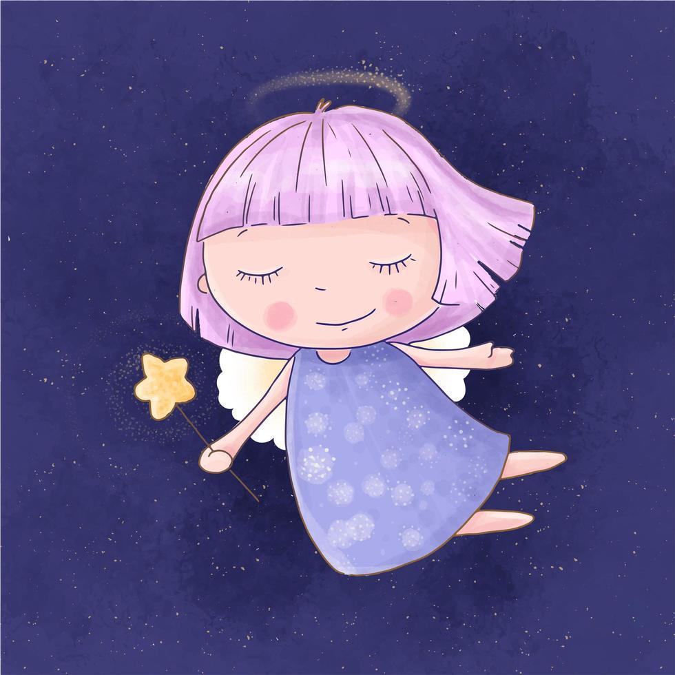 dessin animé, fille ange, à, baguette magique, dans, ciel étoilé vecteur