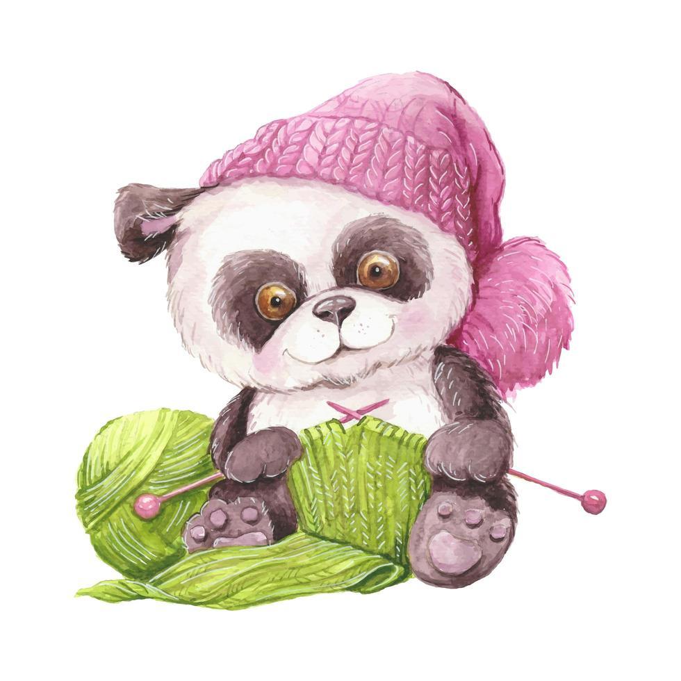 panda tricot aquarelle au chapeau vecteur