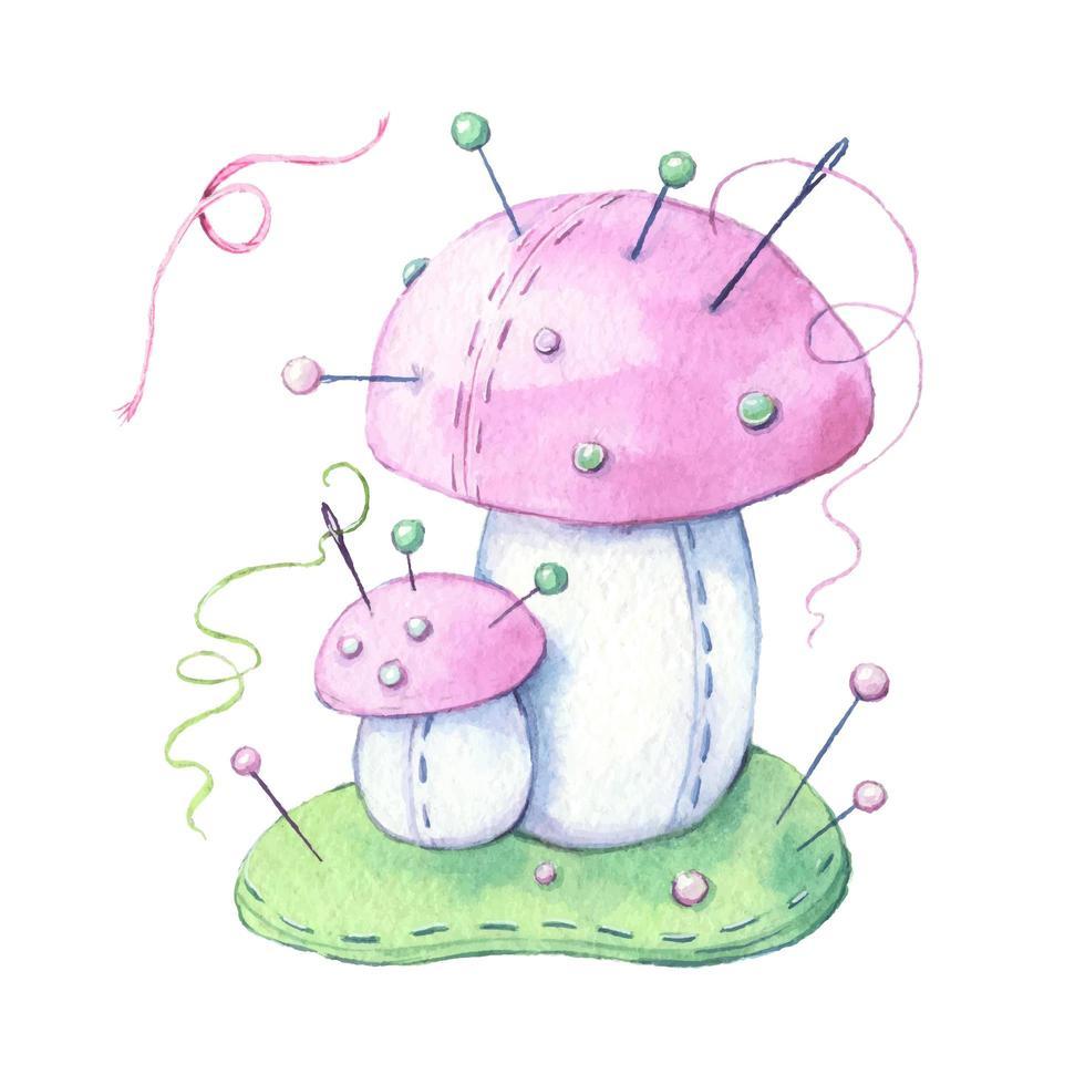 champignon de dessin animé aquarelle avec fil et aiguilles à coudre vecteur