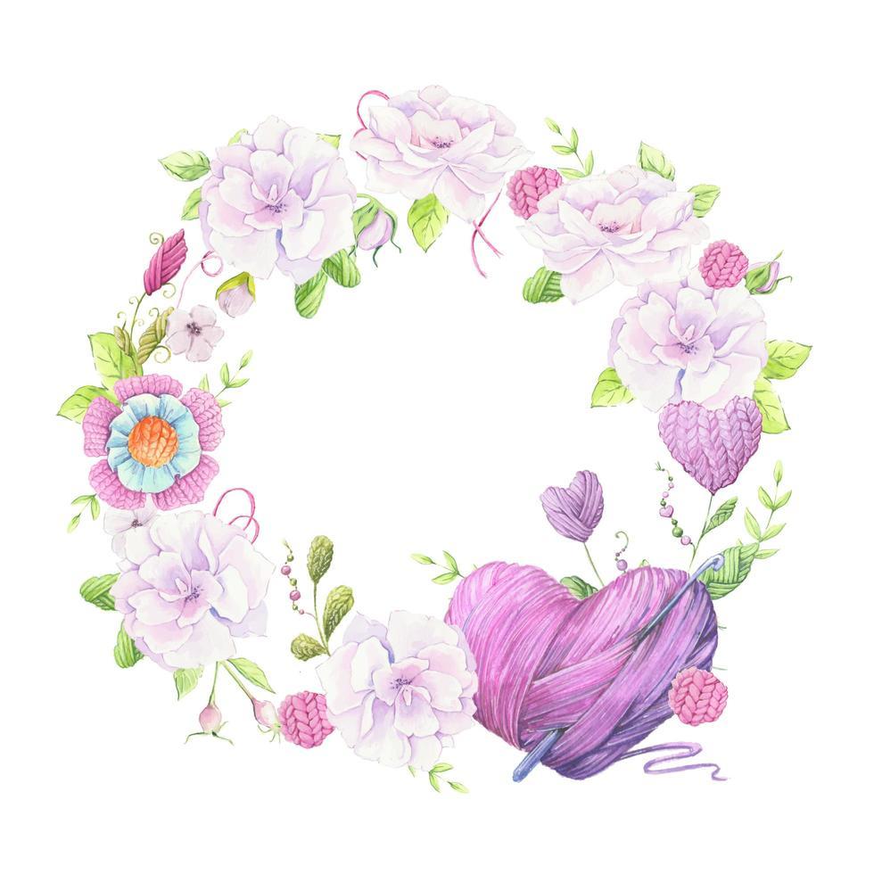 couronne de roses sauvages aquarelle et accessoires pour tricoter des travaux d'aiguille vecteur
