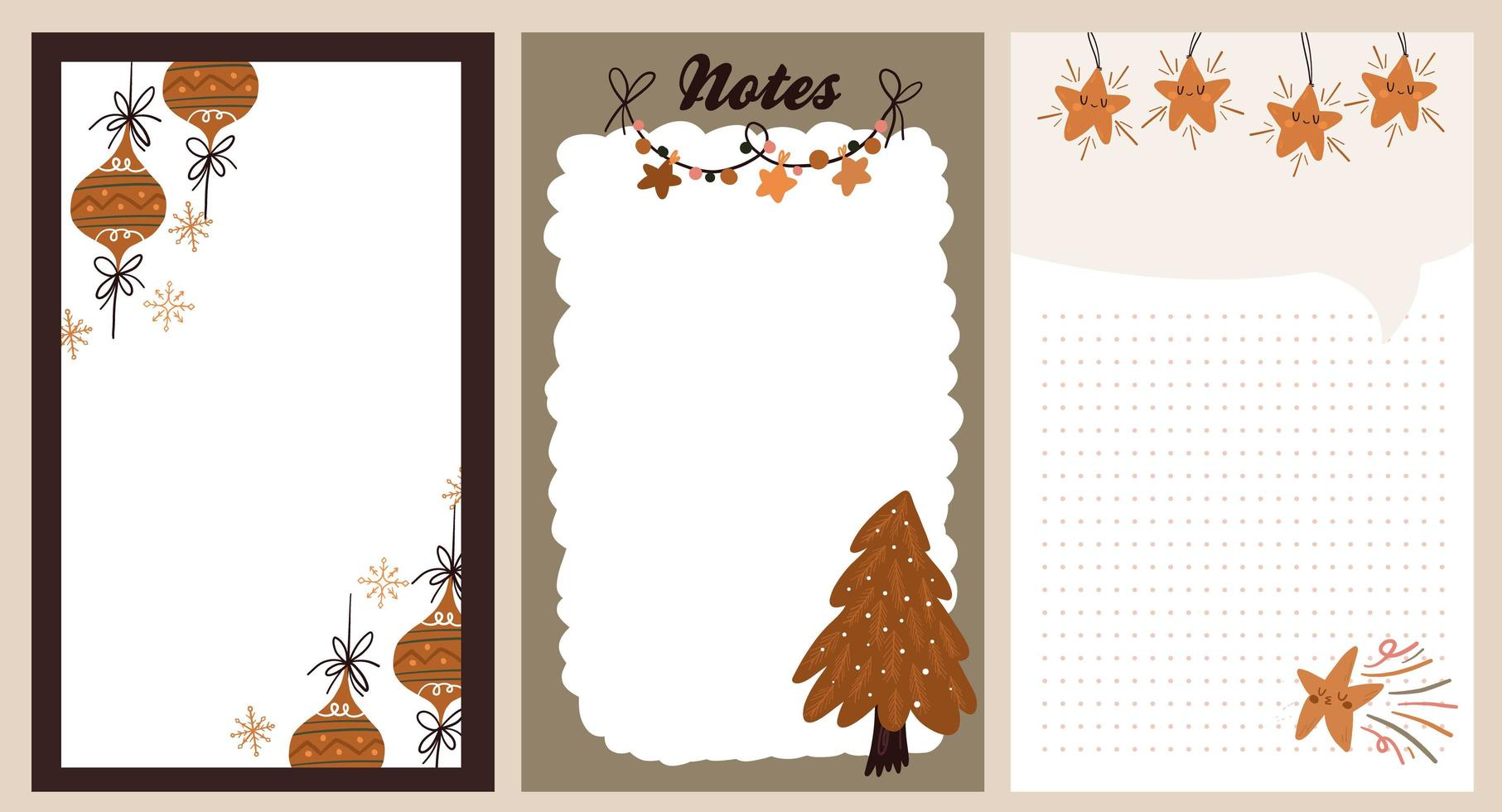 autocollant de vacances de Noël, journal, jeu de notes vecteur