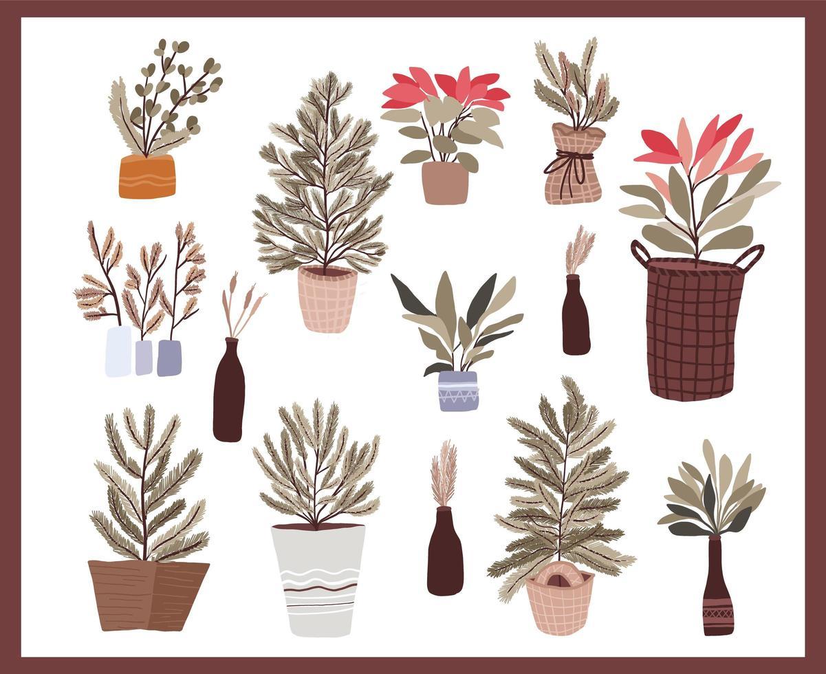 ensemble d'éléments de décoration de plantes de noël vecteur
