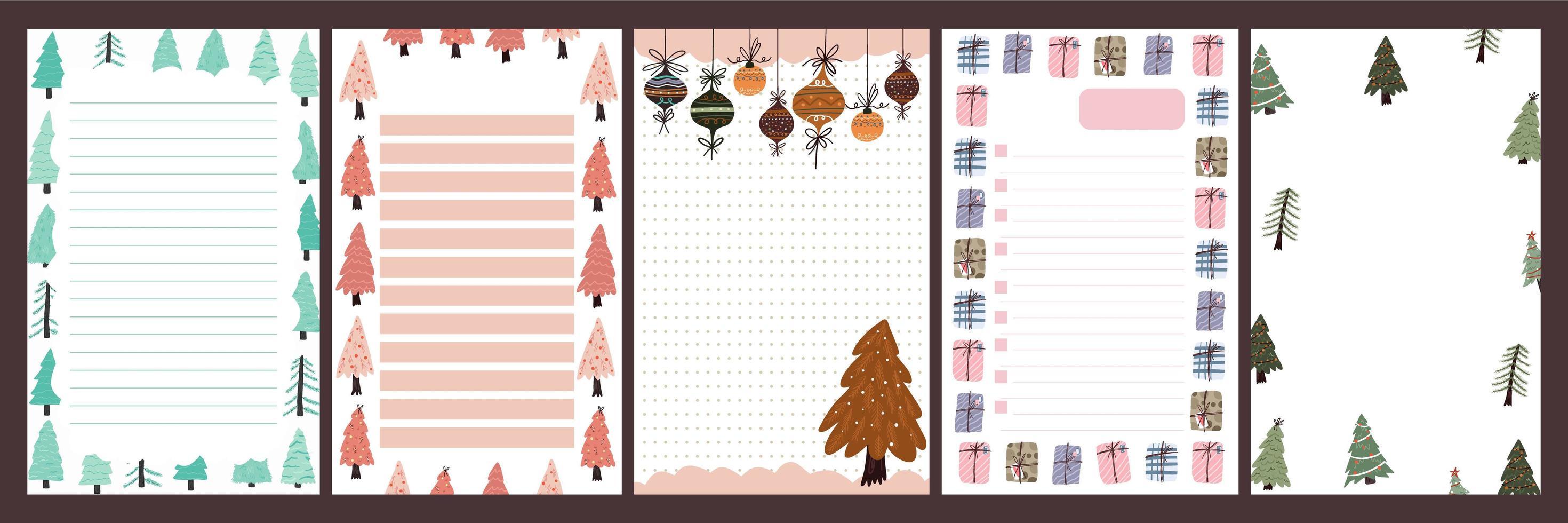 journal de vacances de Noël, ensemble de bloc-notes vecteur