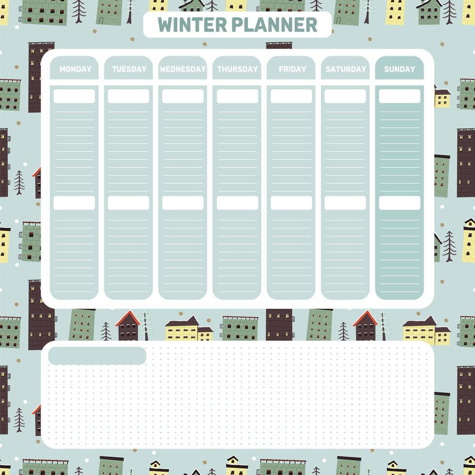 planificateur quotidien hebdomadaire d'hiver dans un style scandinave vecteur