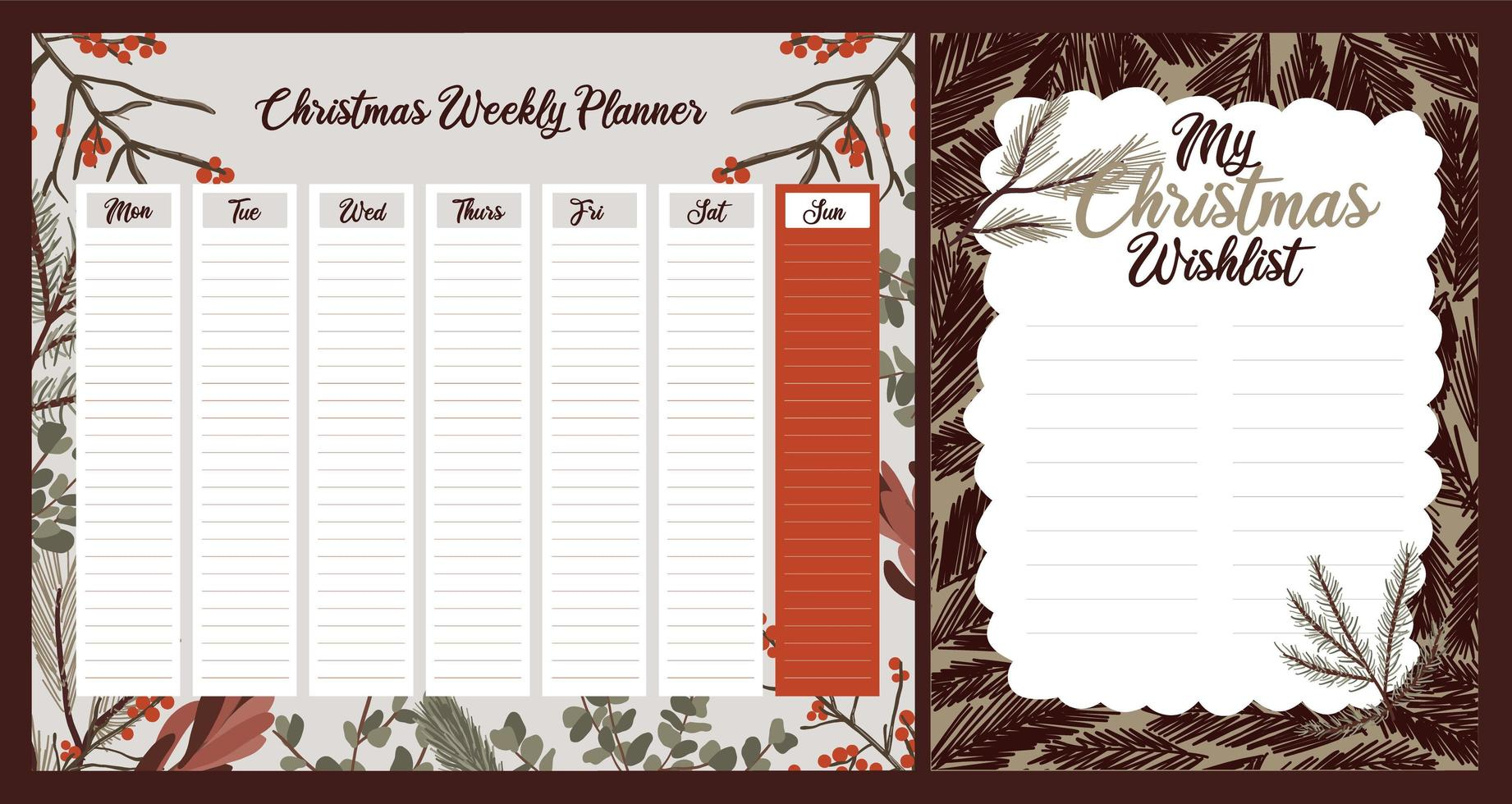 planificateur hebdomadaire de vacances de Noël, journal, jeu de notes vecteur