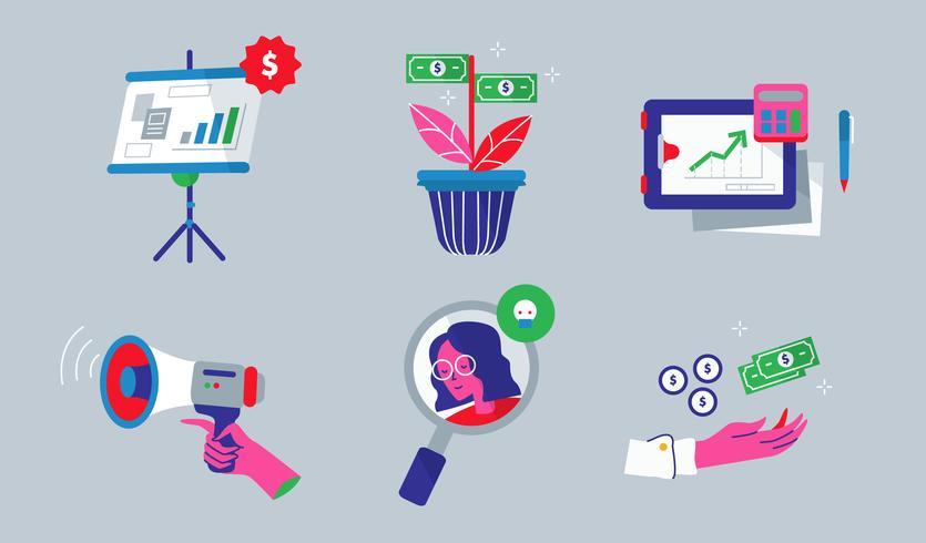 Gain des revenus Business Element Vector Illustration plate