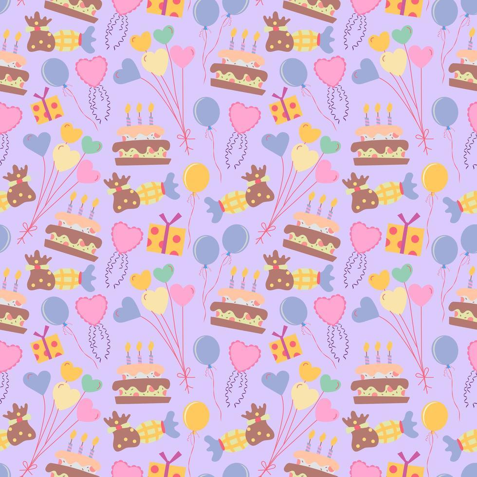 motif de fond mignon ballon et gâteau sans soudure vecteur