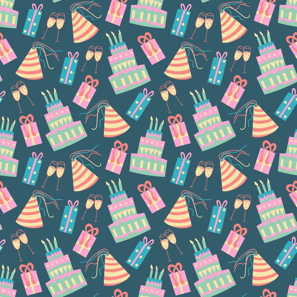 modèle d'anniversaire sans couture avec gâteau vecteur