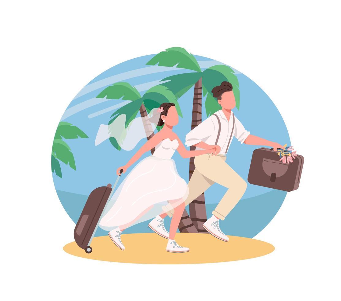 lune de miel couple juste marié vecteur