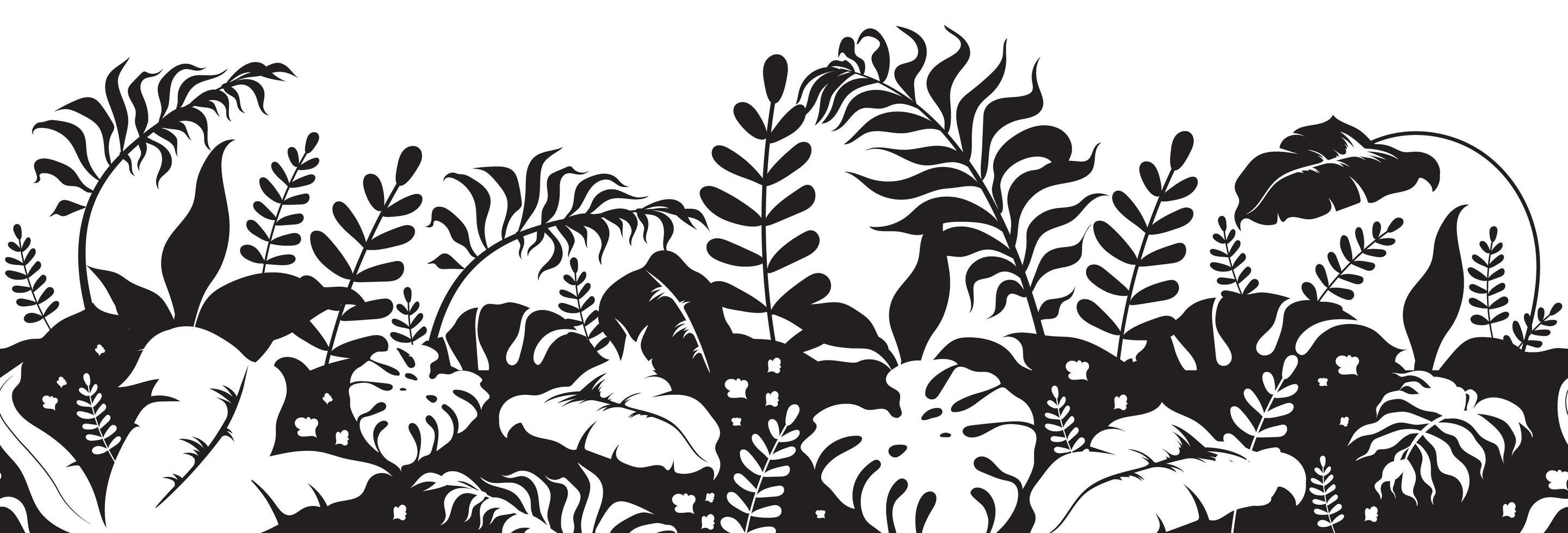 silhouettes noires de plantes tropicales vecteur