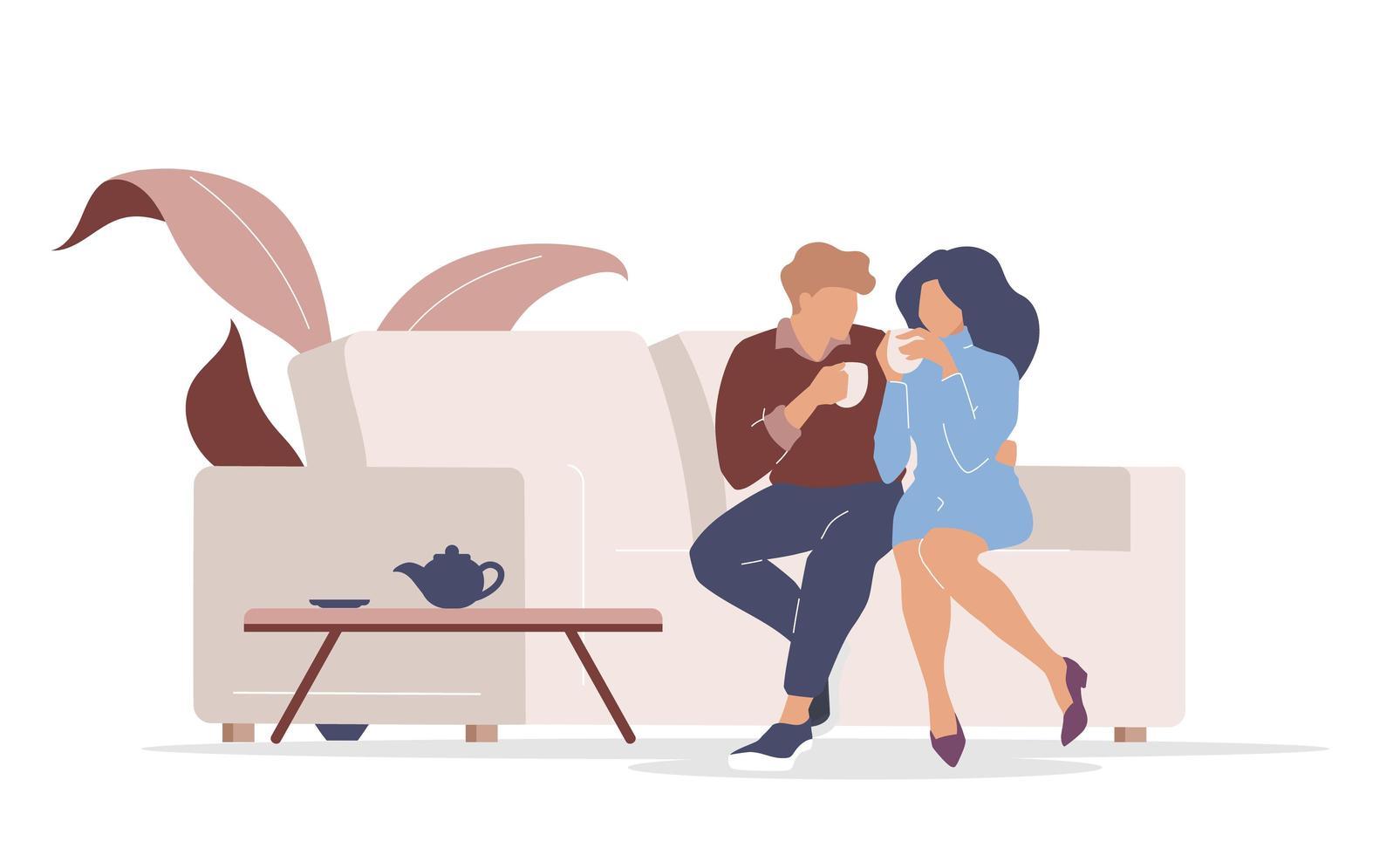 couple sur date vecteur