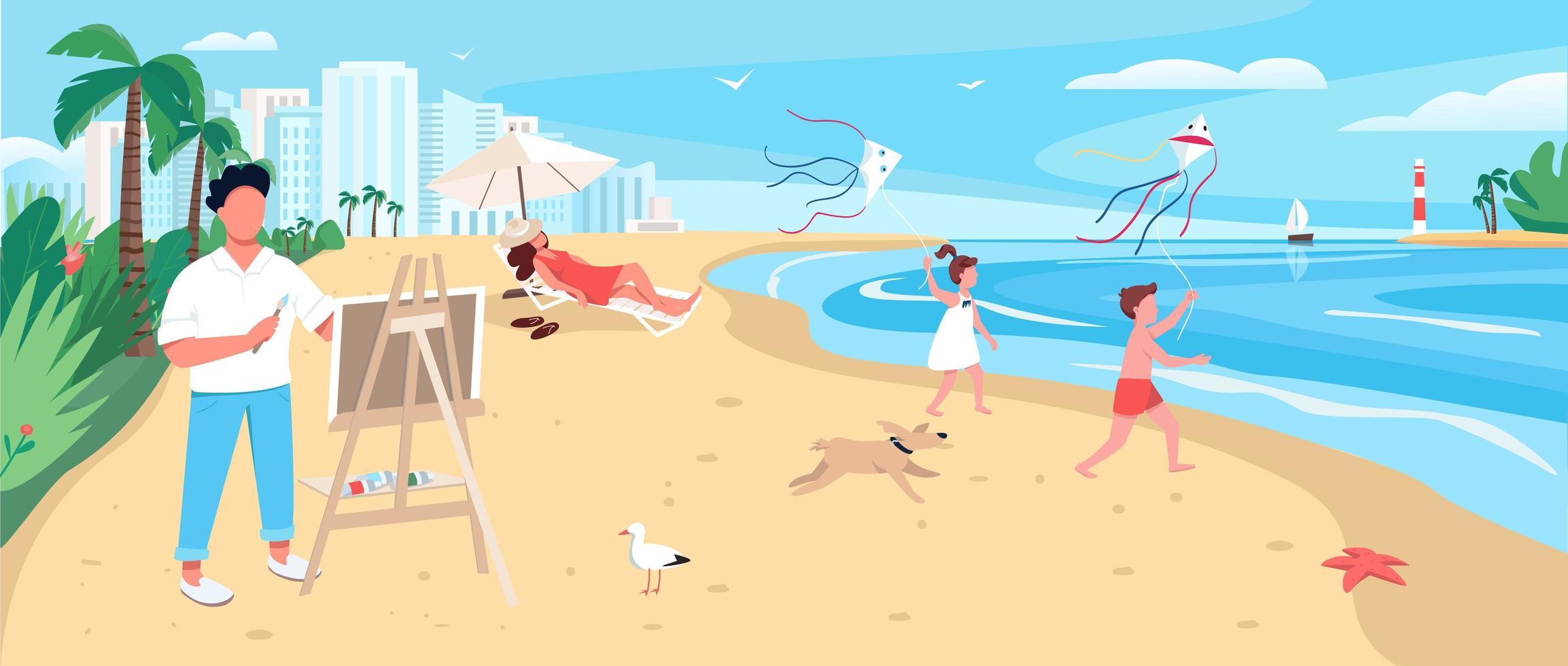 Peinture de l'artiste à la plage de sable exotique vecteur