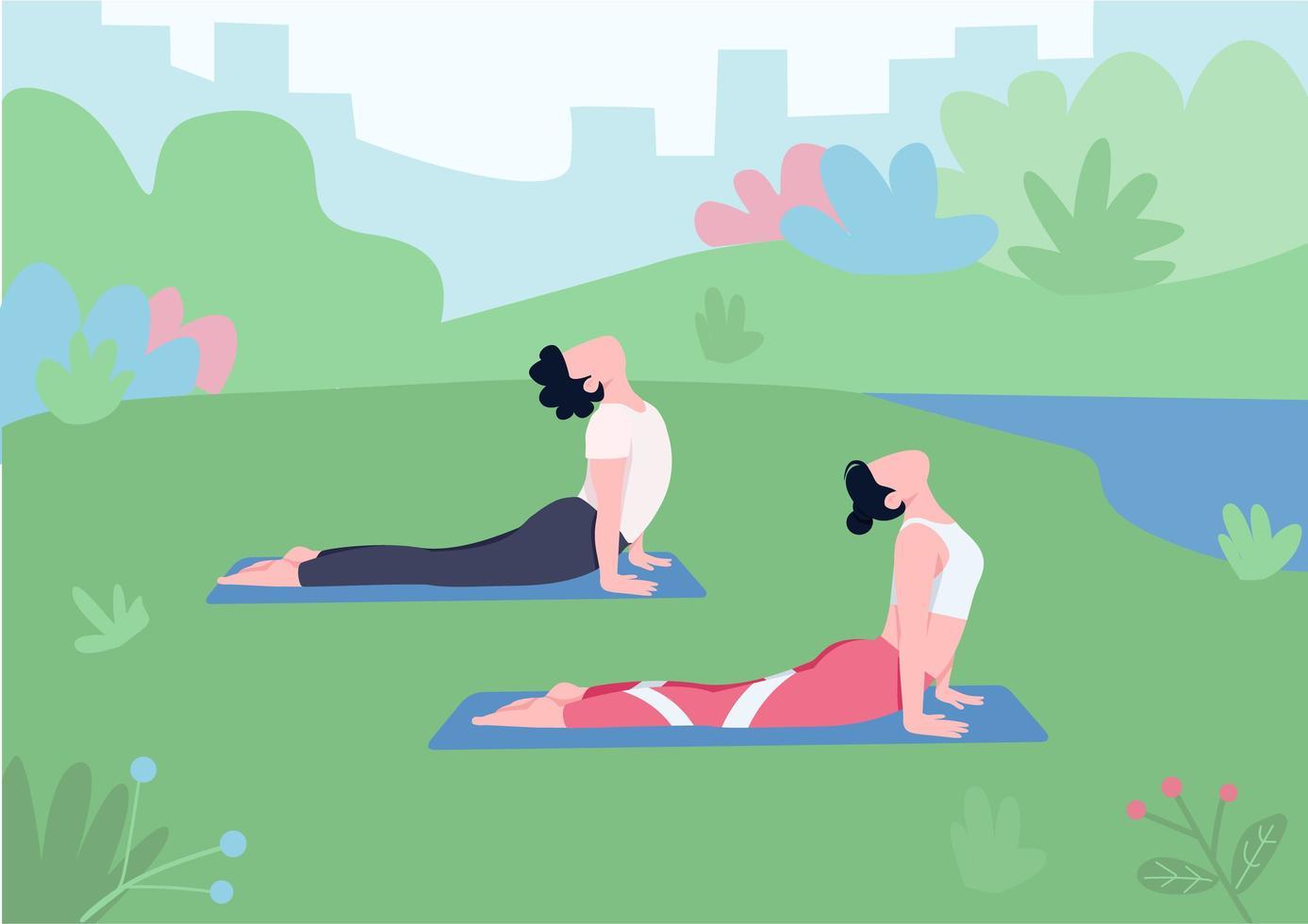 séance de yoga en plein air vecteur