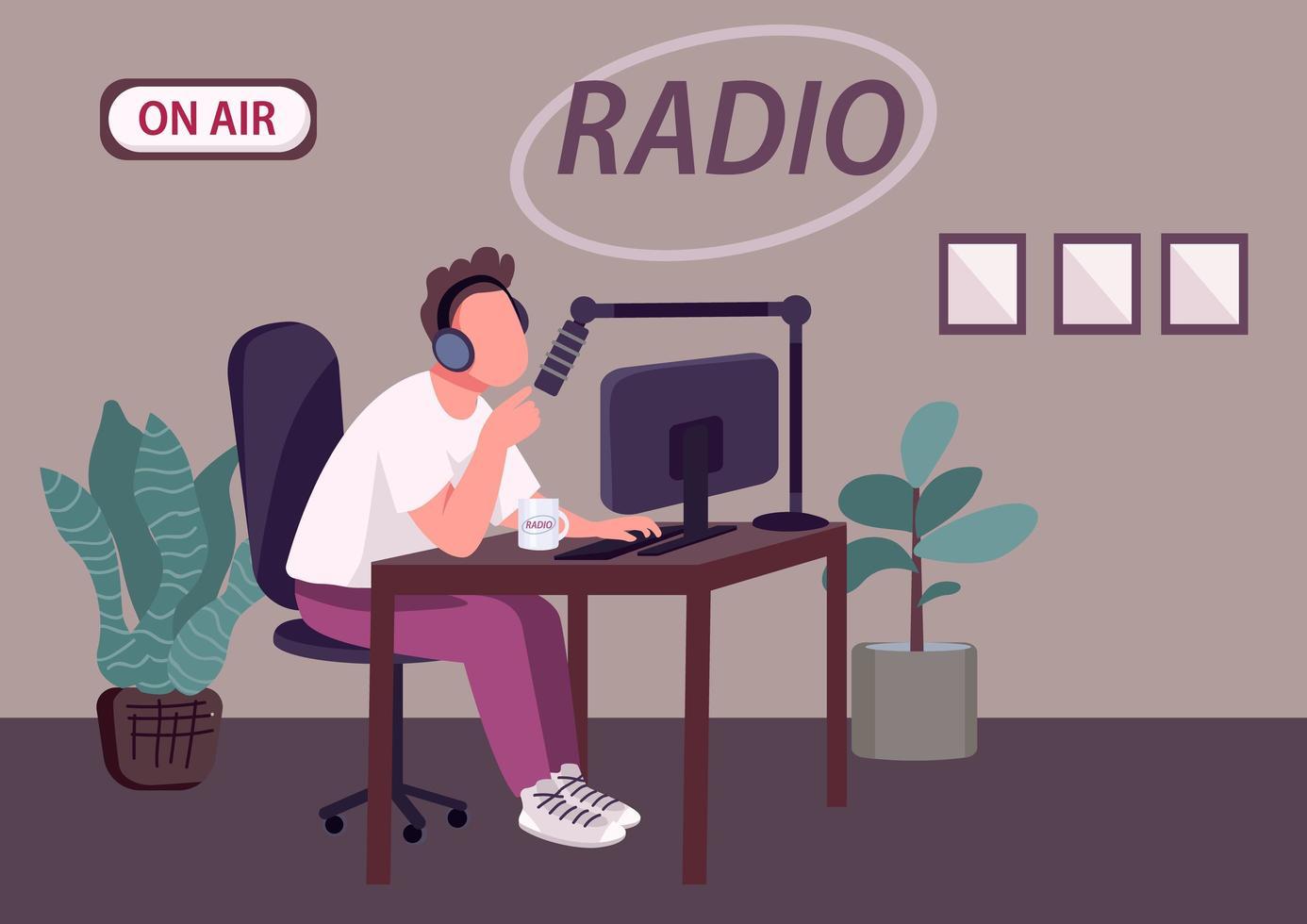 émission de podcast radio vecteur