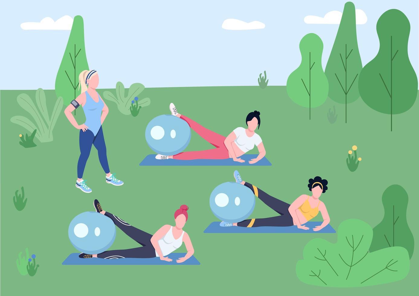 cours de pilates en plein air vecteur
