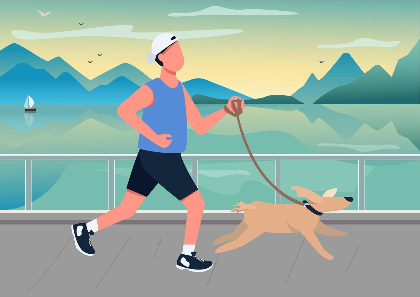 homme qui court avec chien sur front de mer vecteur