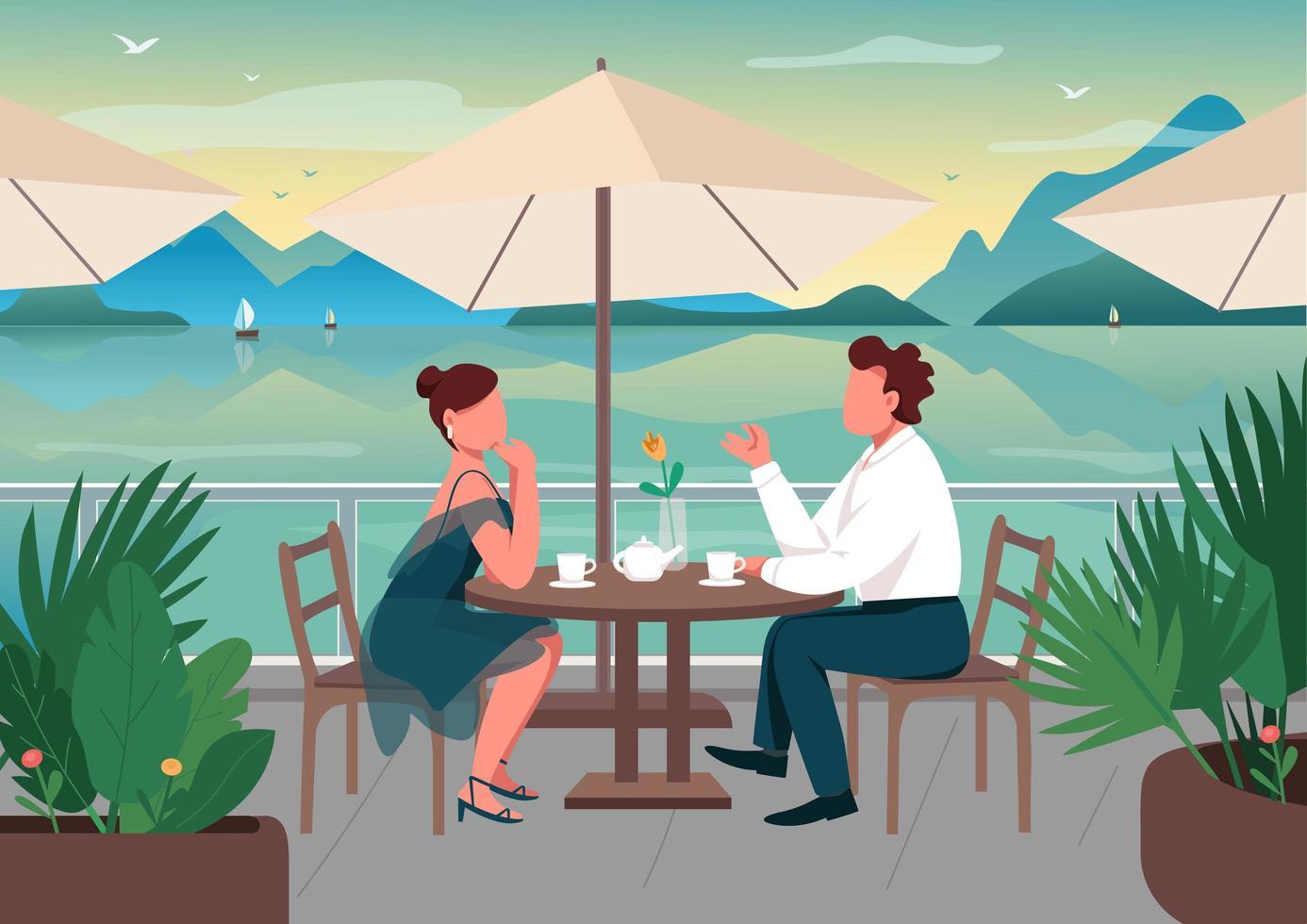 rendez-vous romantique à la station balnéaire vecteur