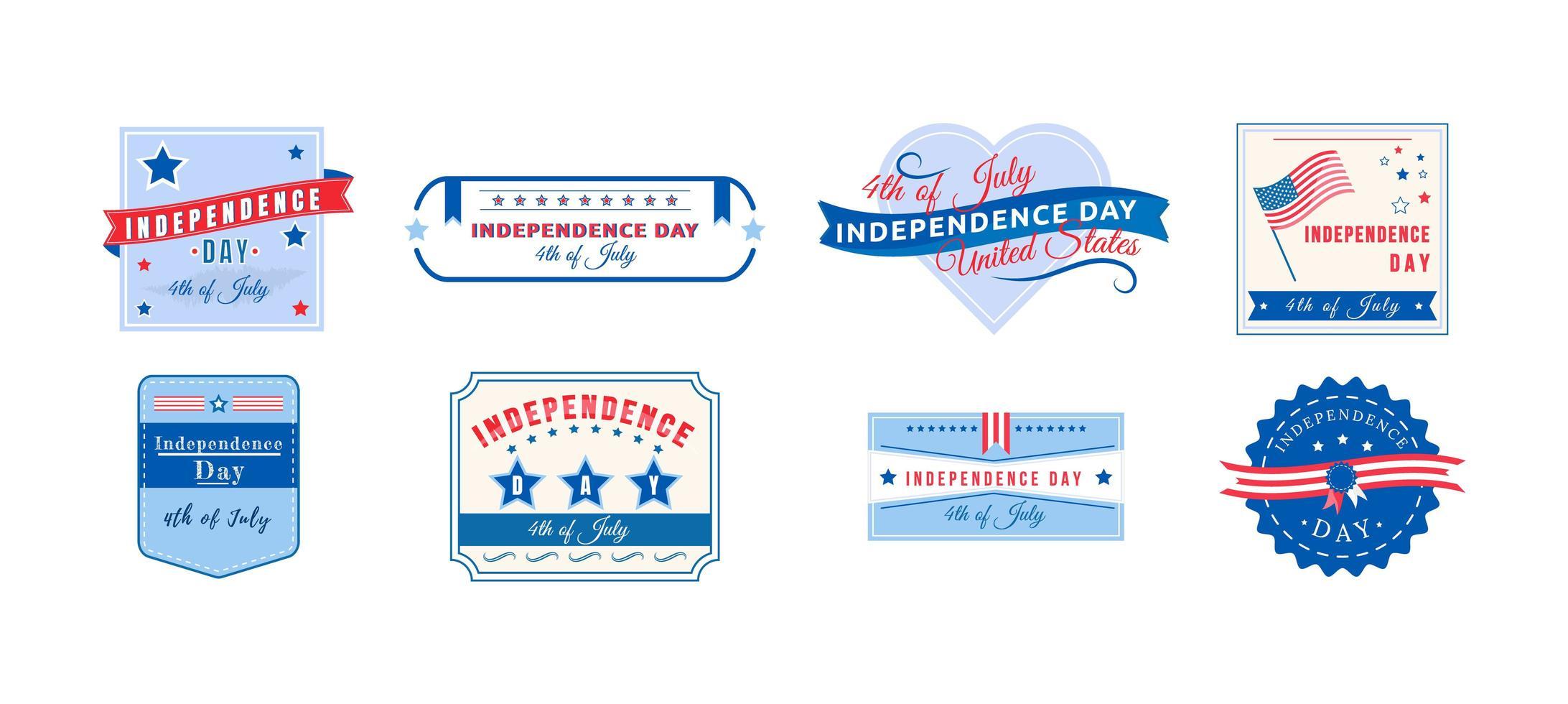 ensemble de badges de vacances indépendance américaine vecteur