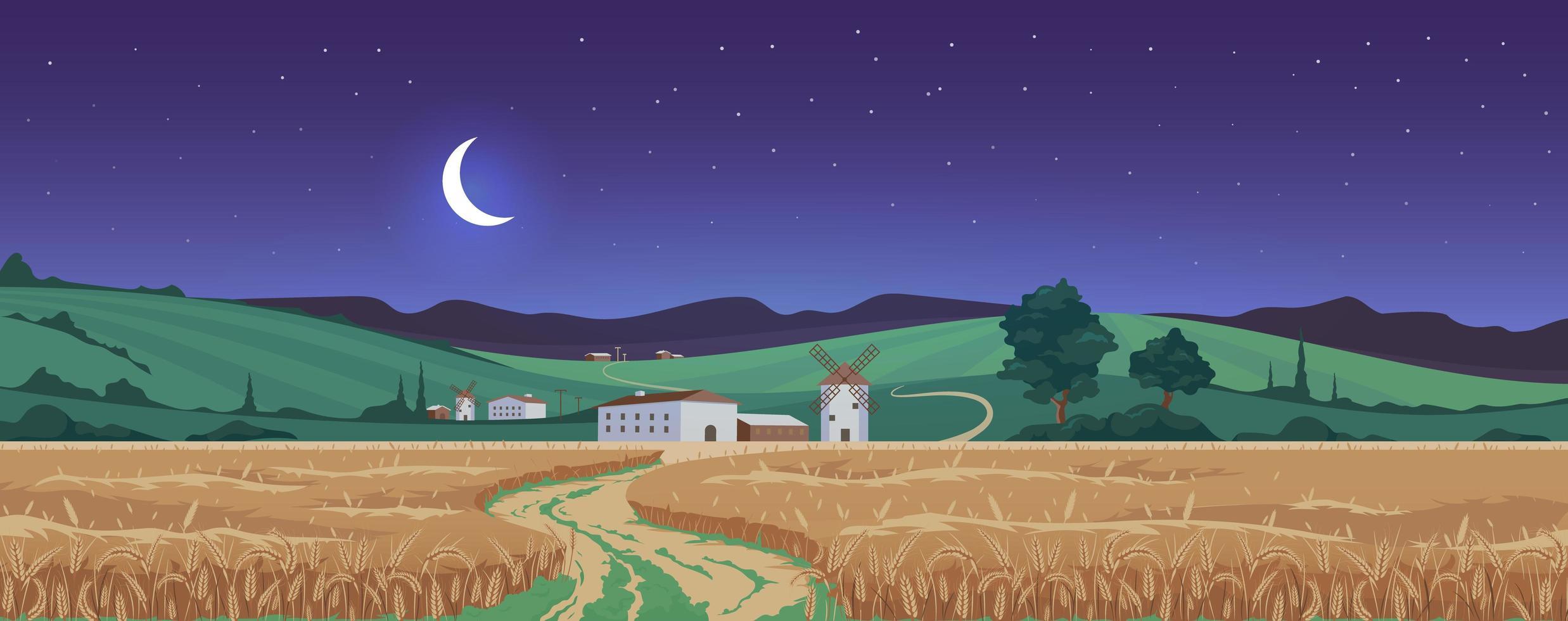 nouvelle lune au-dessus des champs de blé vecteur