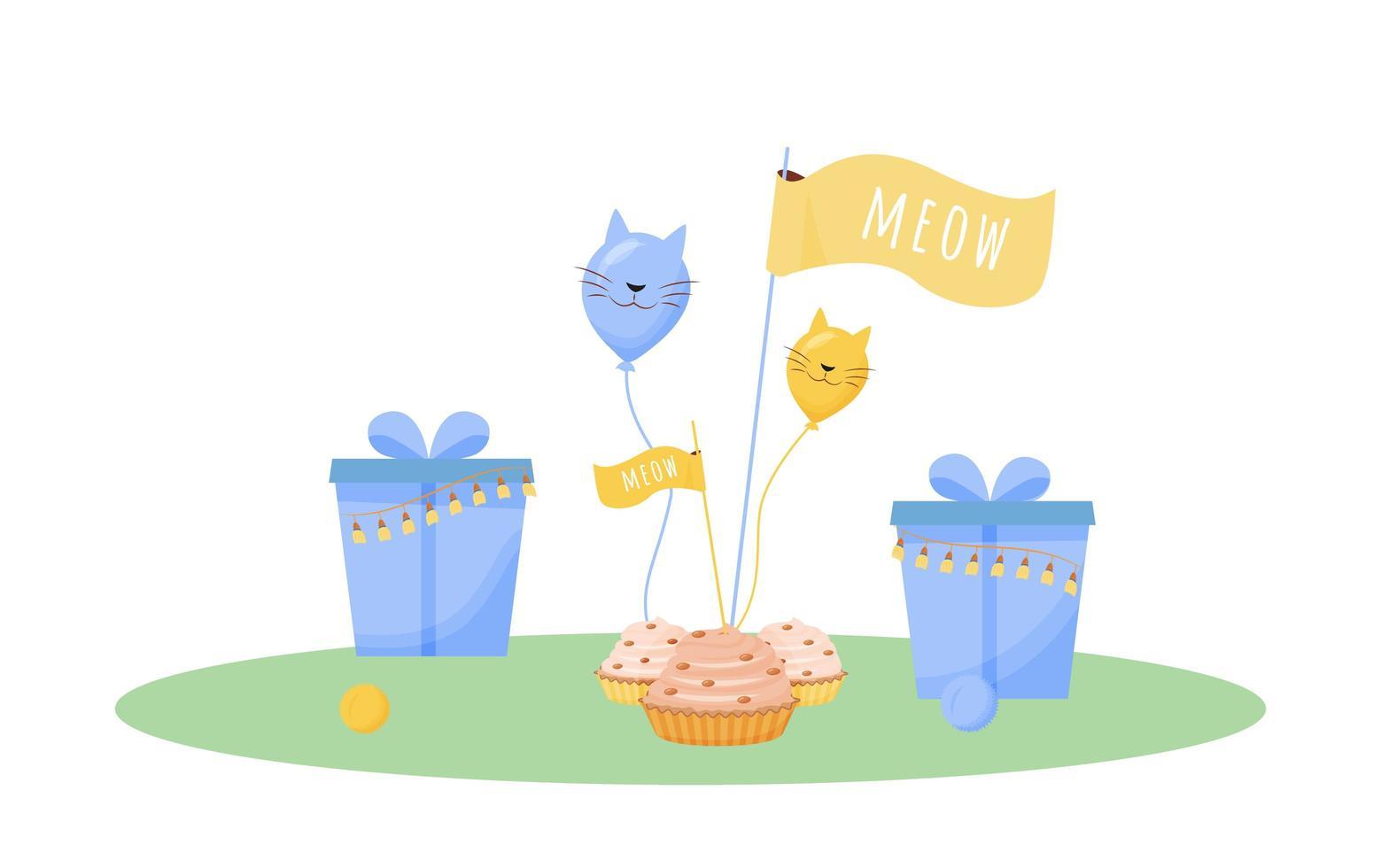 cadeaux d'anniversaire de chat vecteur