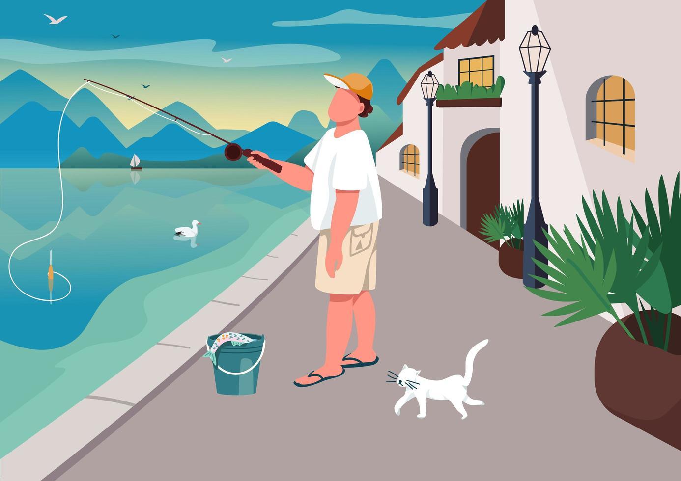 homme, pêche, à, secteur riverain vecteur