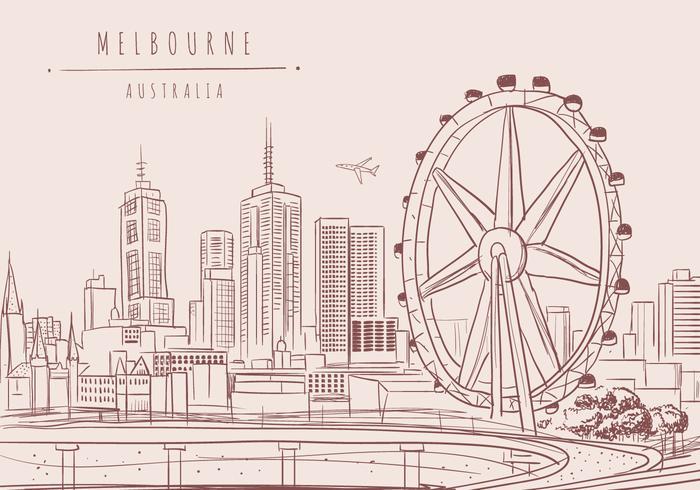 Melbourne City Vector Background