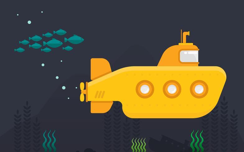 Hublot sous-marin avec exploration sous-marine vecteur