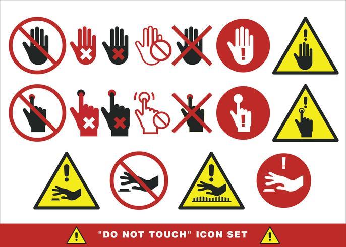 Ne touchez pas le signe Set Vector