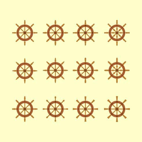 Collection d'icônes de roues de navires vecteur