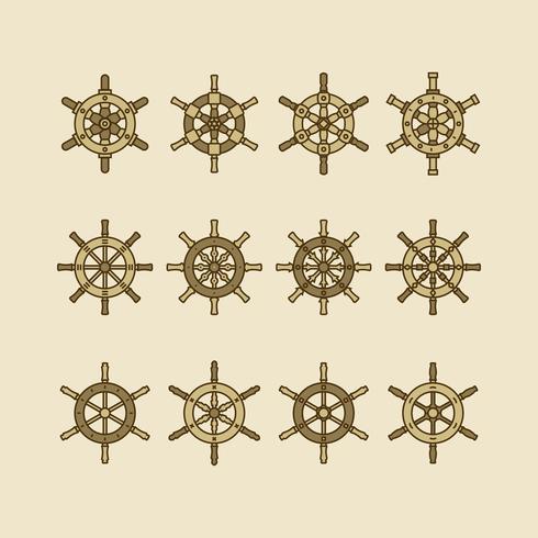 Collection de roues de navires vecteur