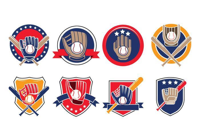 Ensemble de gant de baseball avec des vecteurs d'icône de balle vecteur