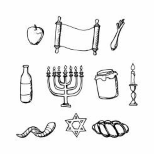 Vecteur gratuit de vacances icône juive dessinés à la main