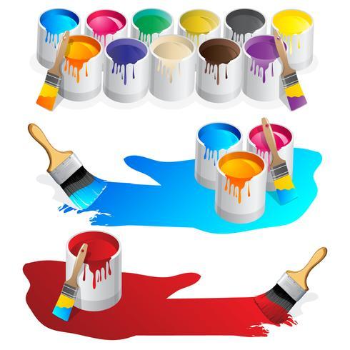 Pot de peinture et éclaboussures de vecteurs vecteur