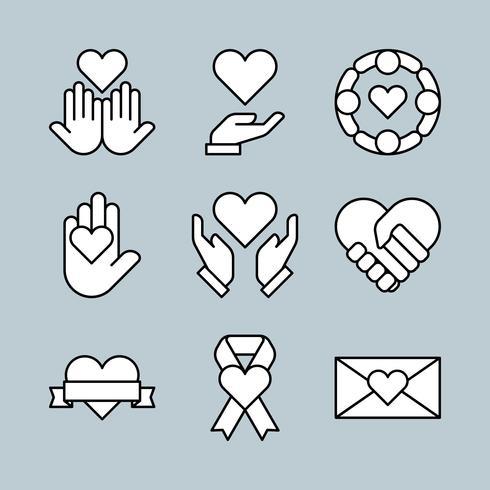 Jeu d'icônes de charité Style mince ligne vecteur