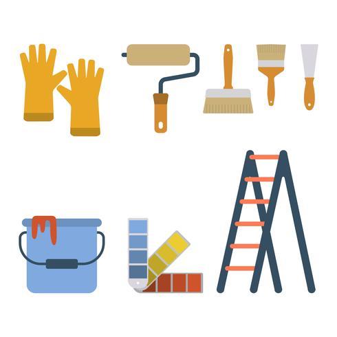 Vecteurs d'outils de peinture plate vecteur