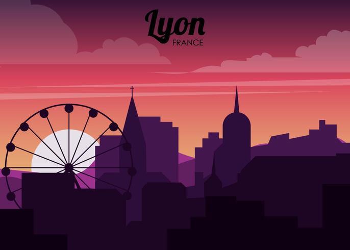 Silhouette de la ville de Lyon vecteur