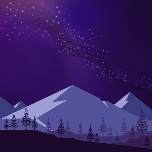 Paysage de montagne avec illustration de fond Stardust vecteur