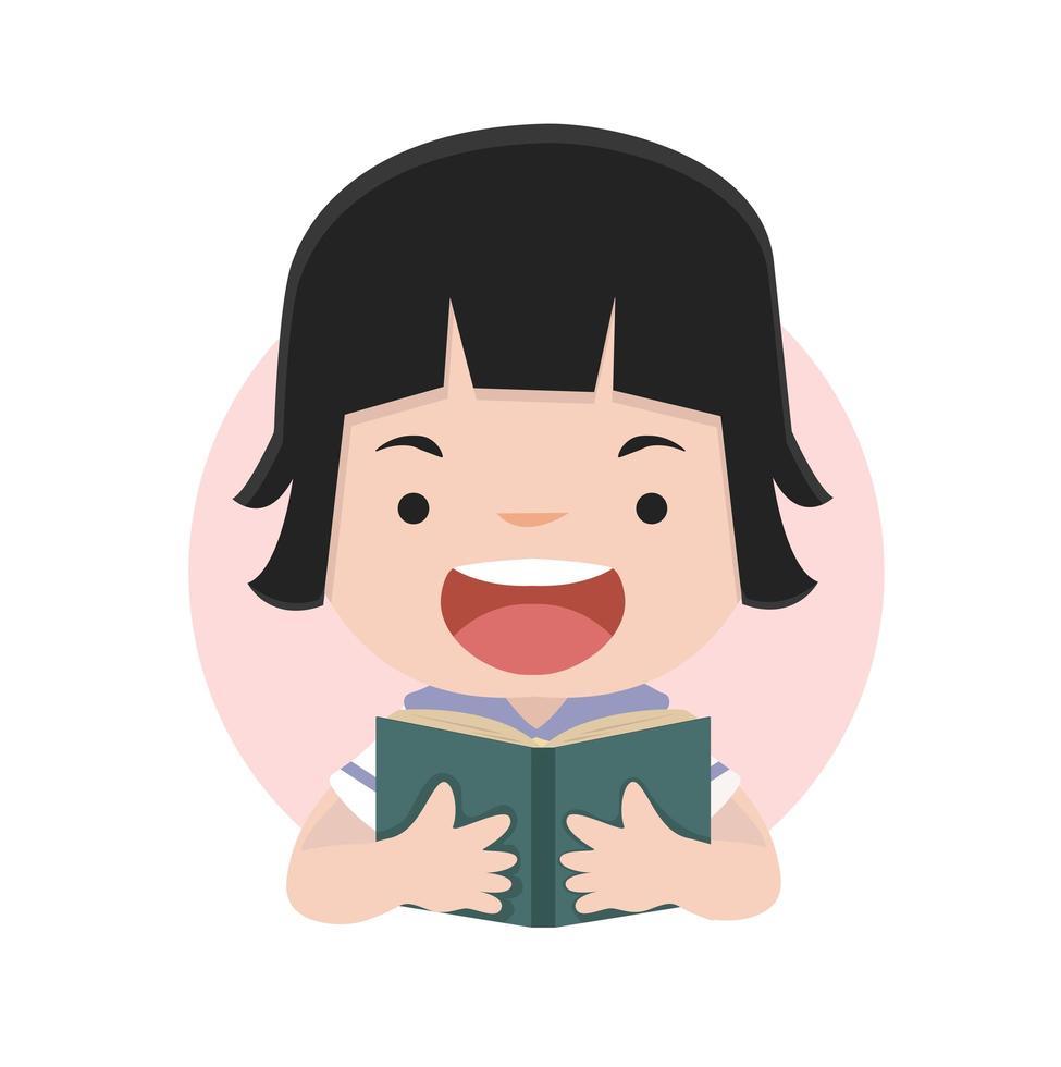 petite fille lisant un livre vecteur