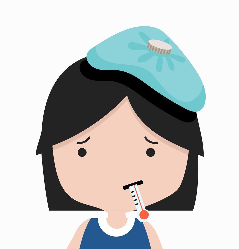 petite fille malade avec thermomètre vecteur