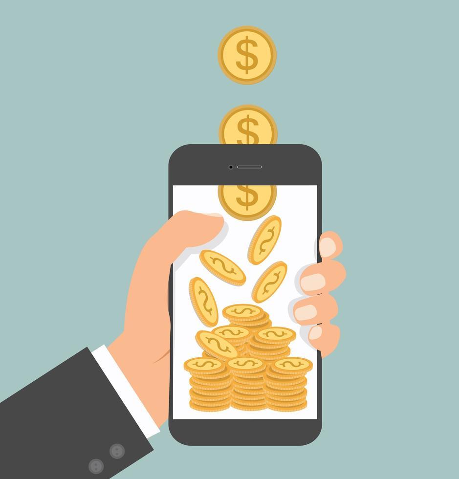 main tenant l & # 39; argent du smartphone tombant vecteur