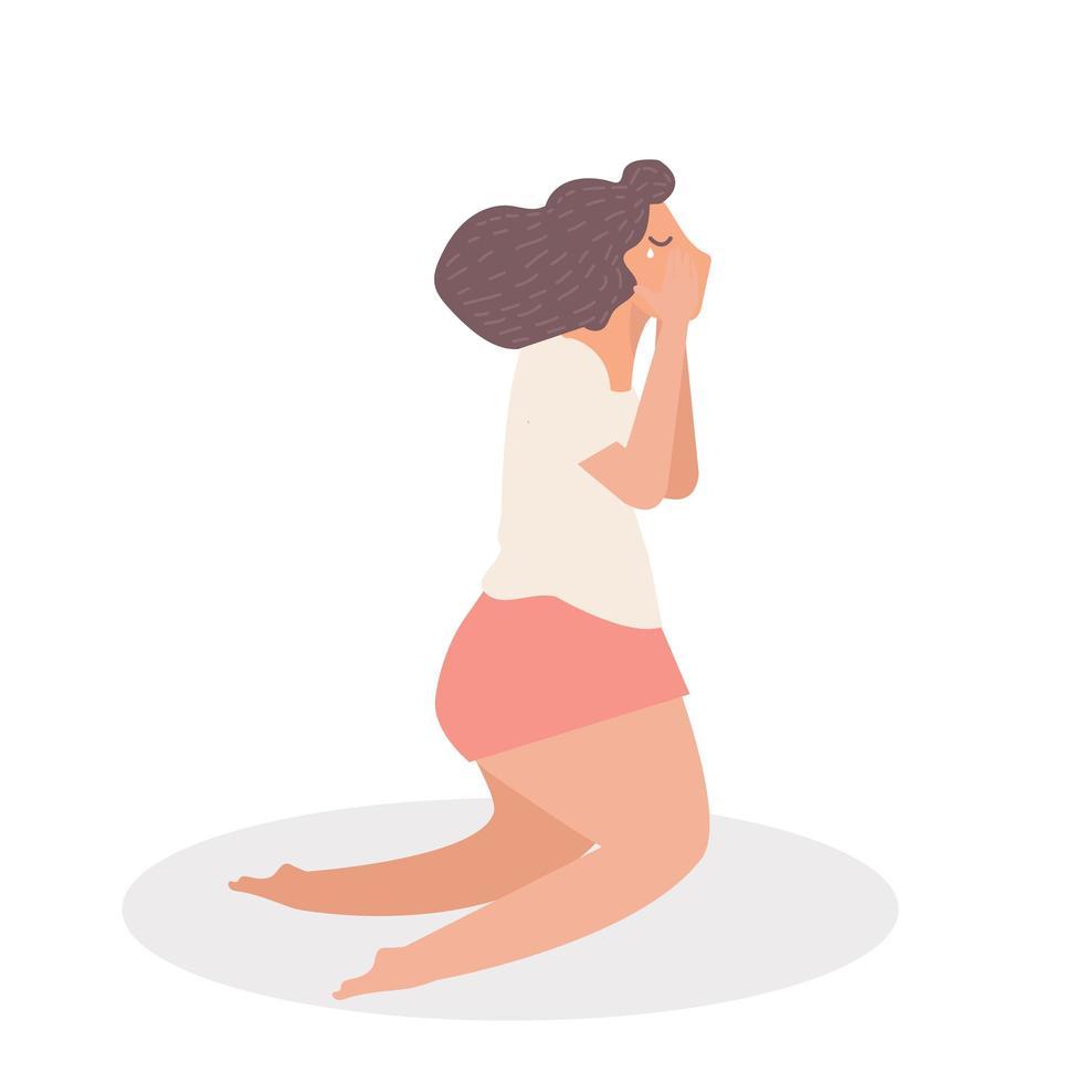 femme pleurer assis vecteur de dessin animé