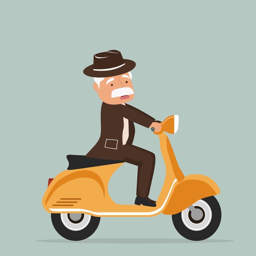 vieil homme équitation scooter vecteur