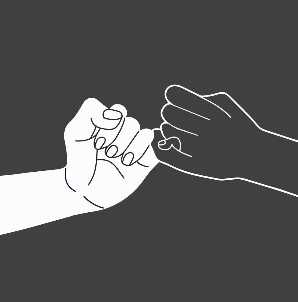 vecteur de contour de main de promesse