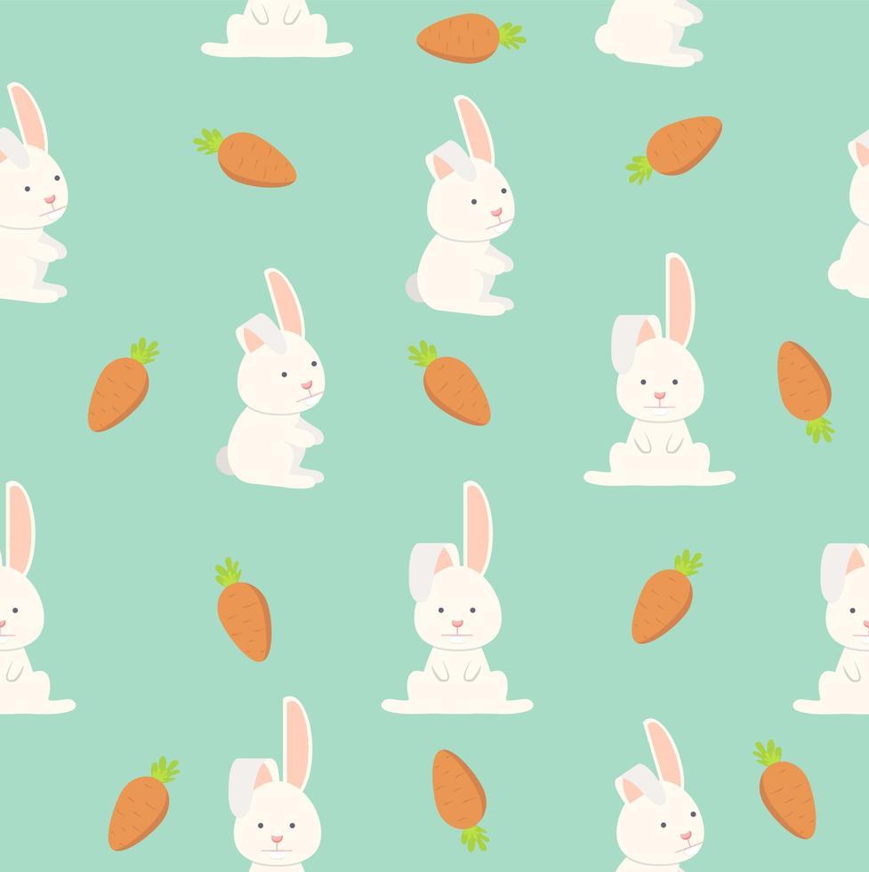 modèle sans couture plat drôle de lapin vecteur