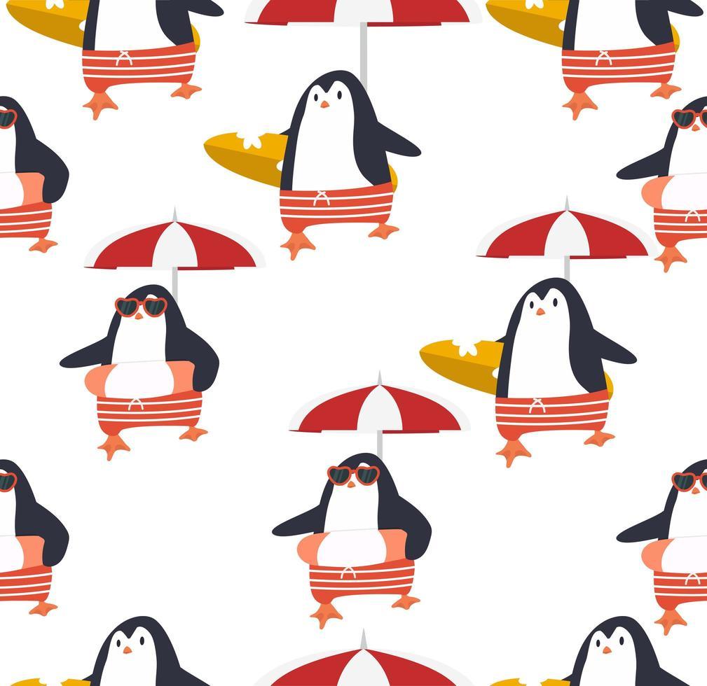modèle sans couture de vecteur de pingouins d'été