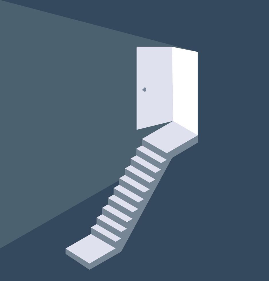 lumière du concept d'escalier porte ouverte vecteur