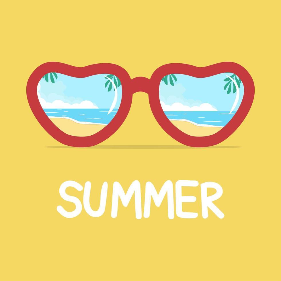 reflet de la plage en été lunettes de soleil vecteur