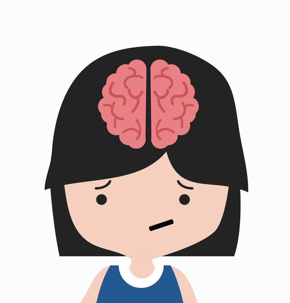 cerveau, dans, tête, girl, dessin animé vecteur