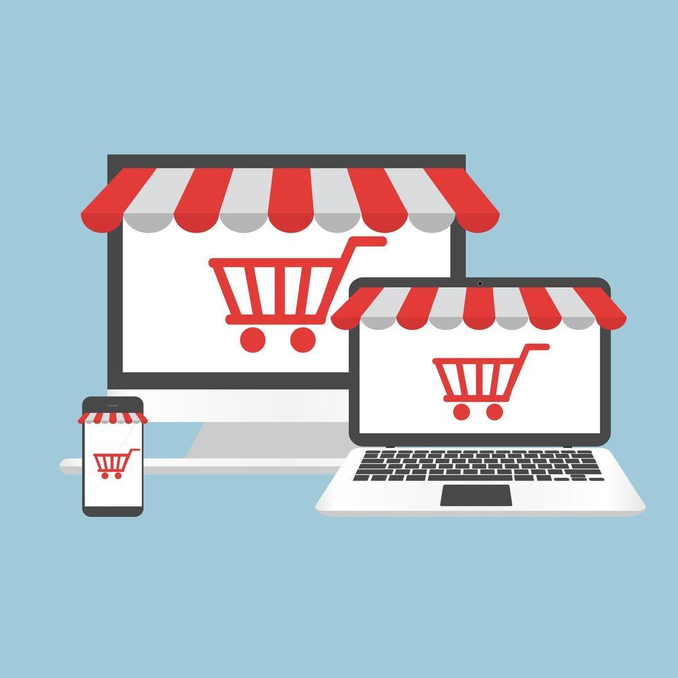 concept informatique achats en ligne vecteur