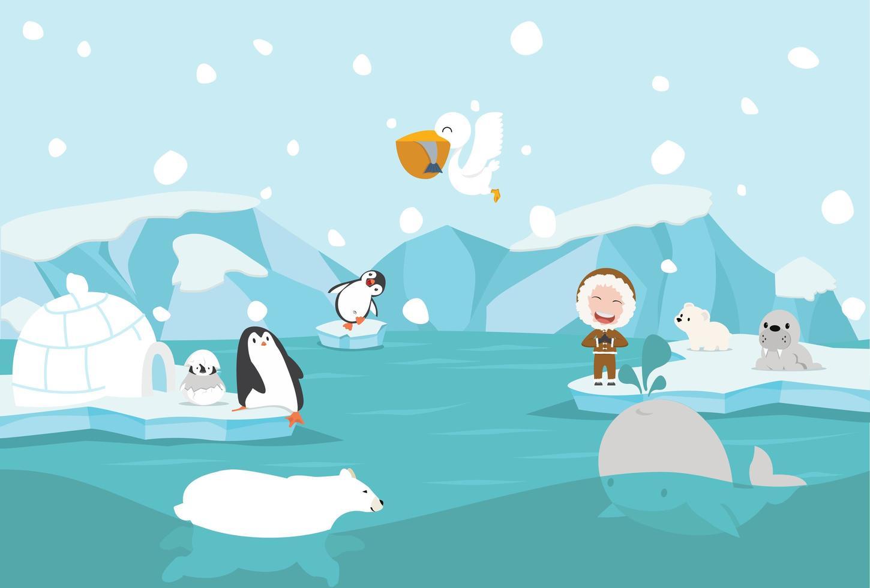 dessin animé, pôle nord, paysage arctique vecteur